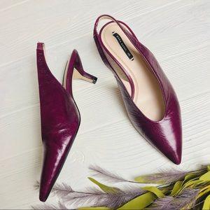 Zara Basic Patent Slingback Kitten Heels